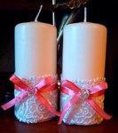 Свеча с розовым бантиком