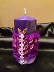 Фиолетовая свеча со стразами